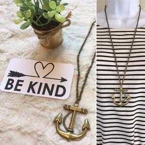 Bronze metal anchor long necklace